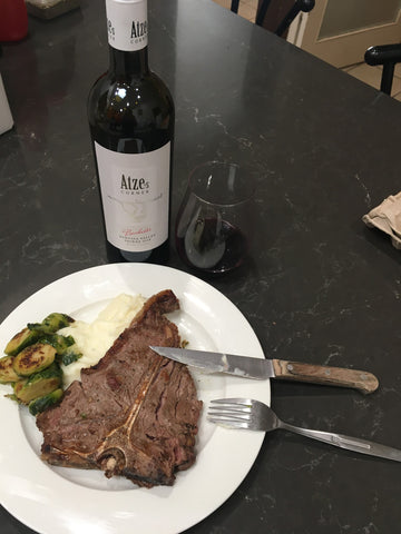 T-Bone Steak and Bachelor Shiraz