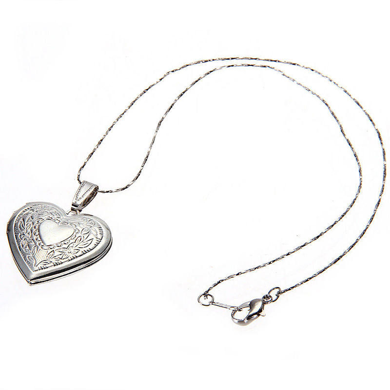 Chain necklace romantic bronze heart open women's men's - Metfine