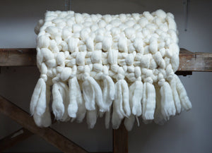 Chunky Knit Blanket - Throws with Tassels - Metfine