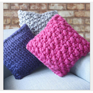 Handmade Chunky Knit pillows(16inchx16inch) - Metfine