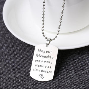 Necklace bead chain dog tag army friendship stainless steel 1pc - Metfine