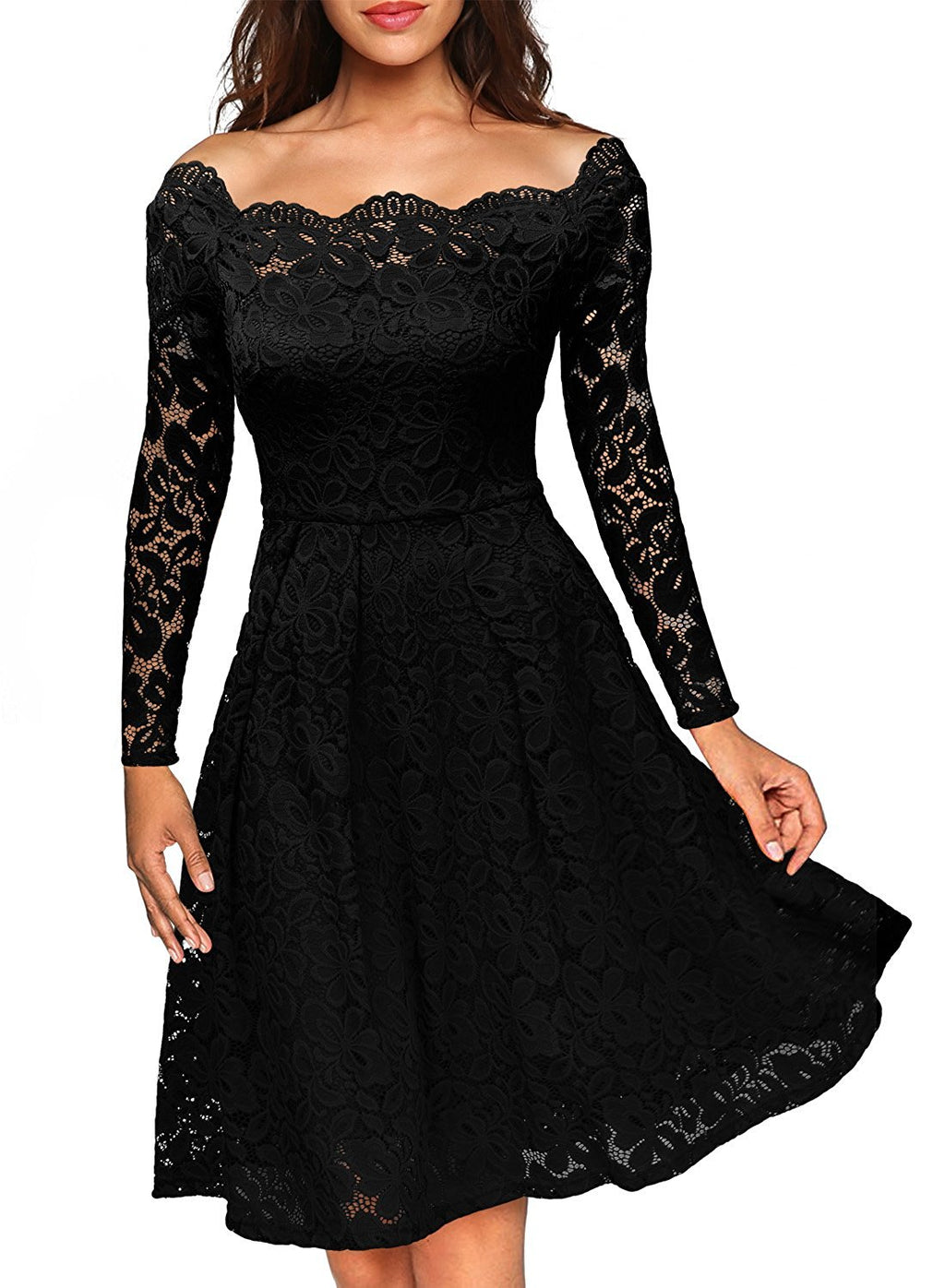 Floral Lace Boat Formal Swing Dress - Metfine