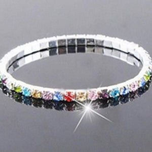 Bracelet shiny rhinestone multicolor stretch women's - Metfine