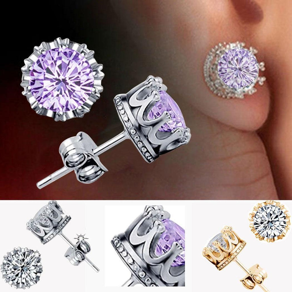 earring crown shape silver rhinestone ear studs - Metfine