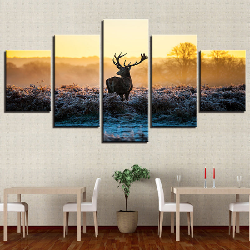 canvas painting | spray painting forest elk art decoration - Metfine