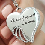 Angel Wings Mourning Necklace - A piece of my heart is in heaven - Metfine