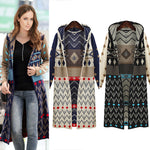 Long Knitted Geometric Jacket Coat Boho Sweater - Metfine