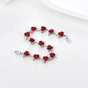 rose flowers charm bracelet | wedding bridesmaid bracelet - Metfine