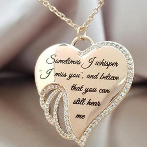 Angel wings heart necklace - Sometimes I Whisper I Miss You - Metfine