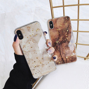 Marble Phone Case For iPhone X XS Max XR Soft TPU Cover For iPhone 7 8 6 6s Plus Glitter Case - Metfine