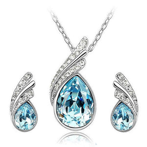 Necklace elegant jewelry leaf silver plated earring set women's water drop - Metfine
