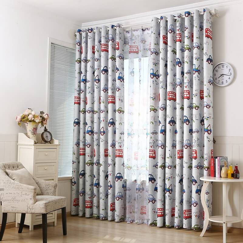 Cartoon Car Kids Curtains - Metfine