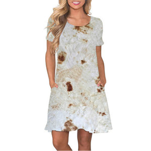 Short Sleeve Tortilla Burrito Dress - Metfine
