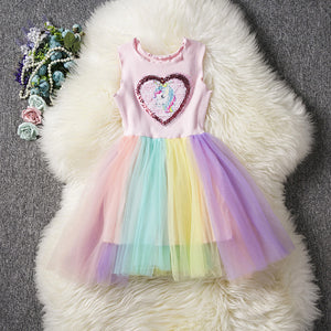 Love Unicorn pattern Rainbow Dress - Metfine