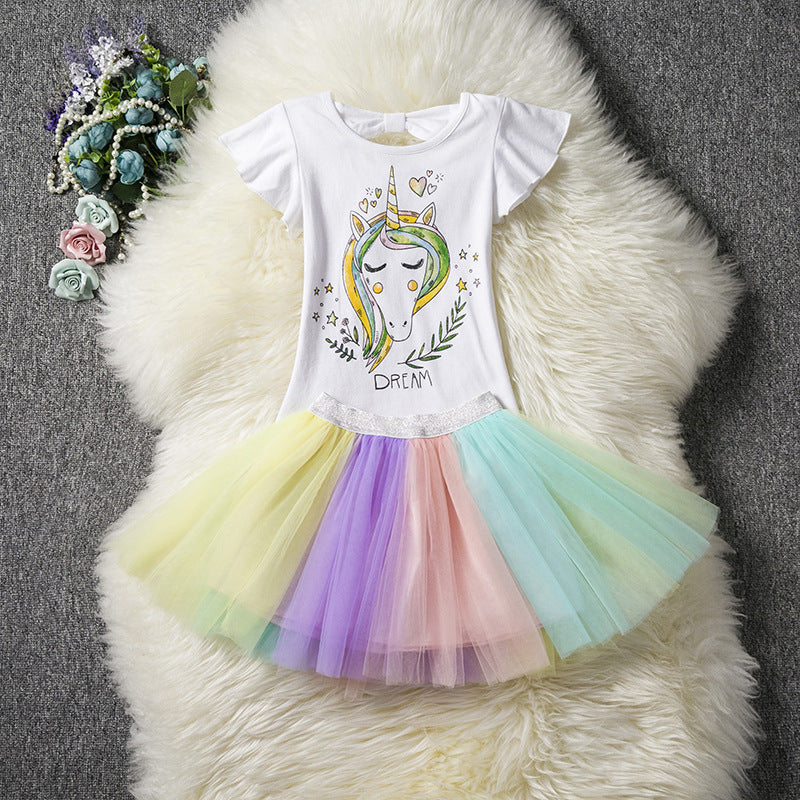 Dream Unicorn pattern Rainbow Dress - Metfine