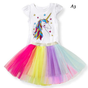 unicorn dress | unicorn party rainbow kids Dresses | girls princess dress - Metfine