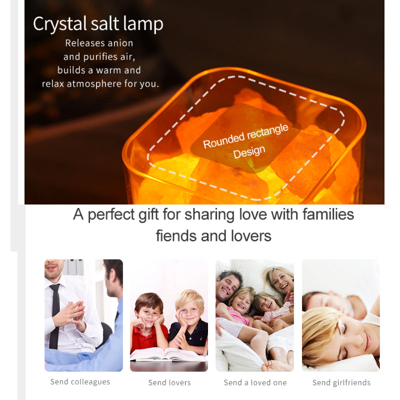 USB Crystal Light natural himalayan salt lamp led Lamp Air Purifier Mood Creator Indoor warm light table lamp bedroom lava lamp - Metfine