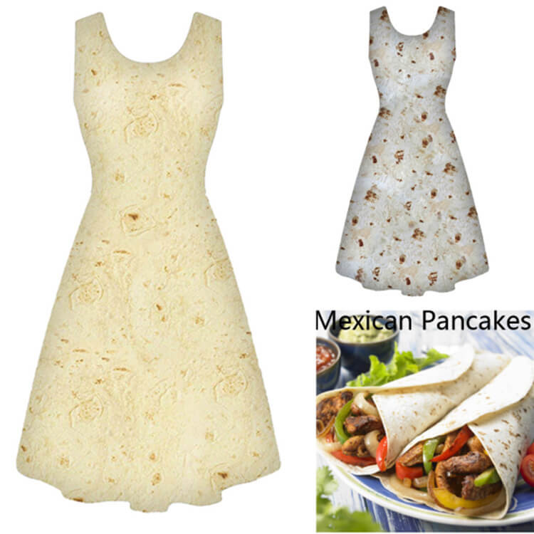 Sleeveless Tortilla Burrito Dress - Metfine