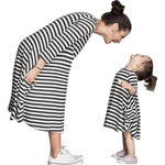 Autumn Mother And Daughter Fall Full Black Striped Dress - Metfine