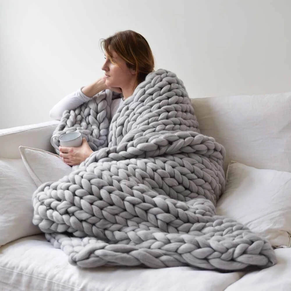 super chunky knit blanket | giant yarn blanket - Metfine