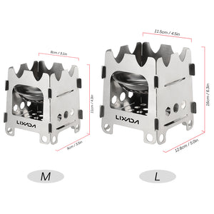 portable stove | Folding mini Camping Stove | Wood outside wood stove Stainless Steel - Metfine