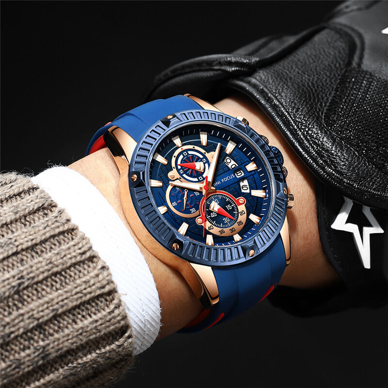 Men's silicone sport wristwatch
