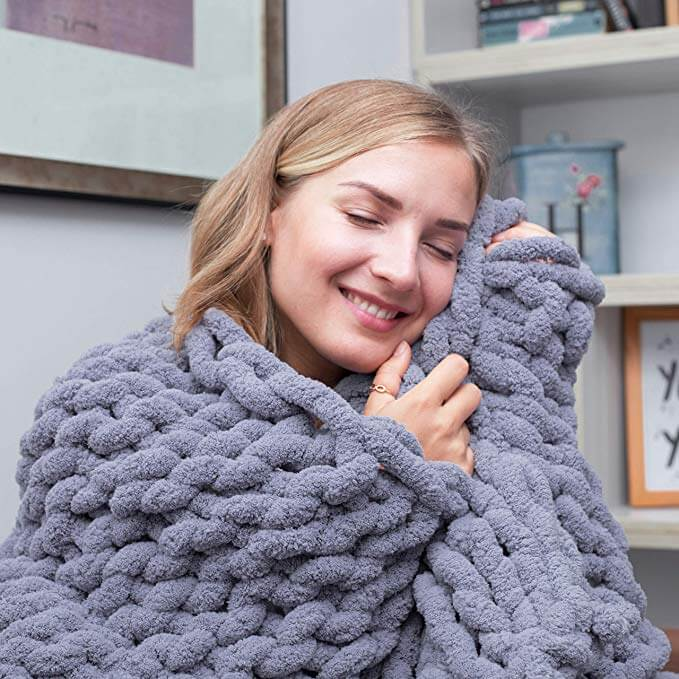 Chunky Knit Throw Chenille Blanket - Metfine