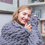 Chunky Knit Throw Chenille Blanket