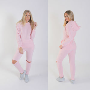 Casual thickening plus velvet hooded sports suit - Metfine