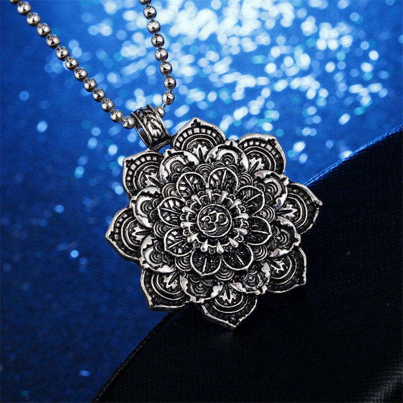 Mandala lotus flower pendant necklaces