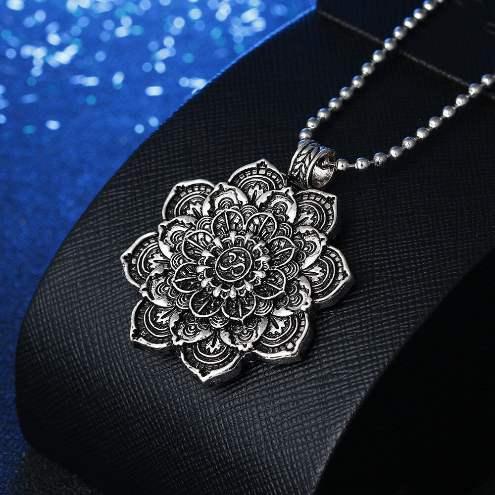Mandala lotus flower pendant necklaces - Metfine