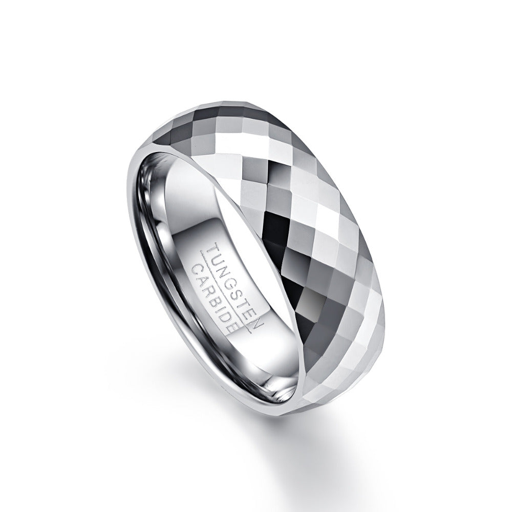 7.5mm multi-faceted tungsten Carbide wedding band ring - Metfine