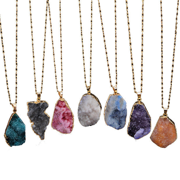 Natural Stone Crystal Pendant Necklace Clavicle Jewelry - Metfine