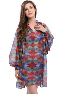Floral Print Long Sleeve Loose Chiffon Ehtnic Style Dress - Metfine