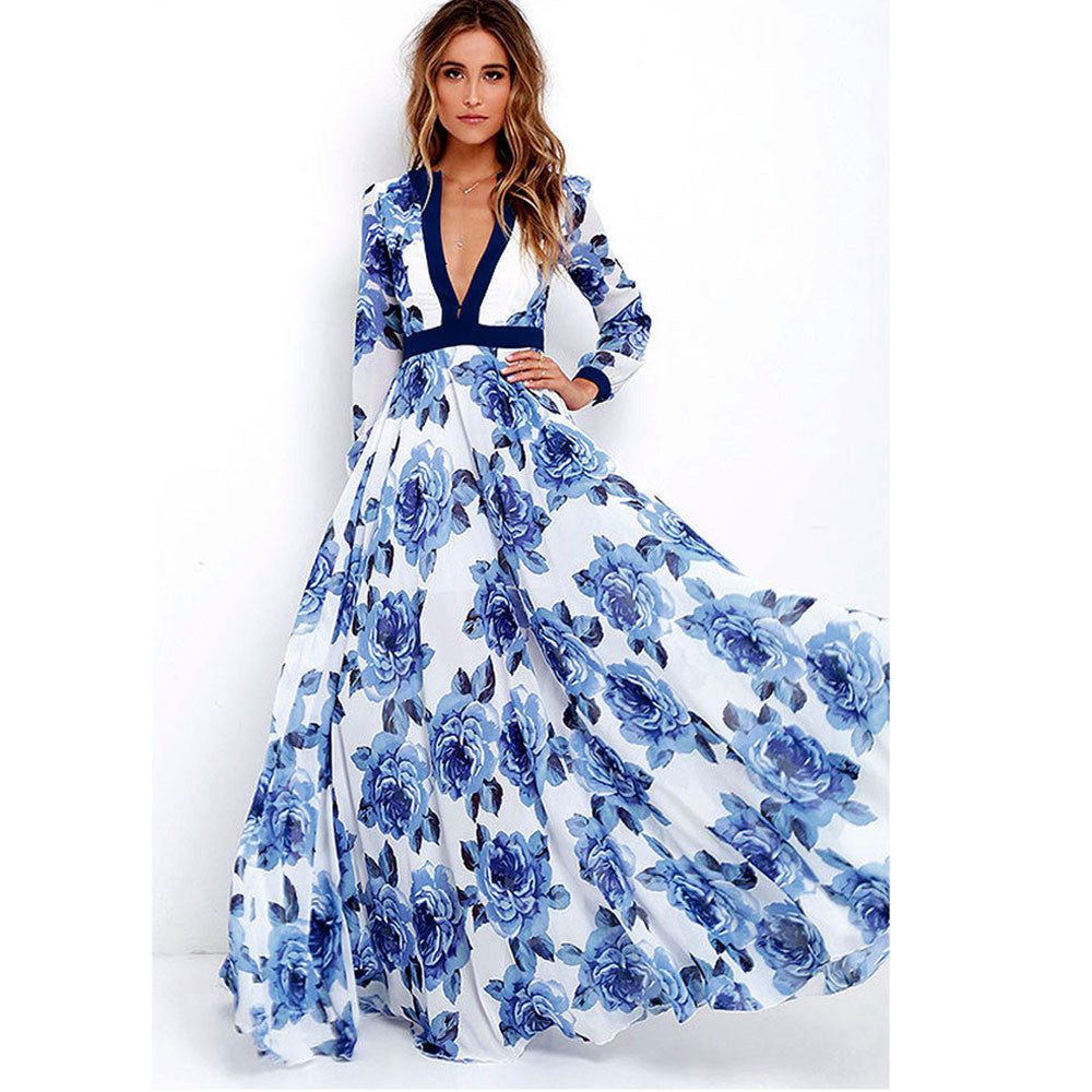 Long Maxi Party Boho Print Dress - Metfine