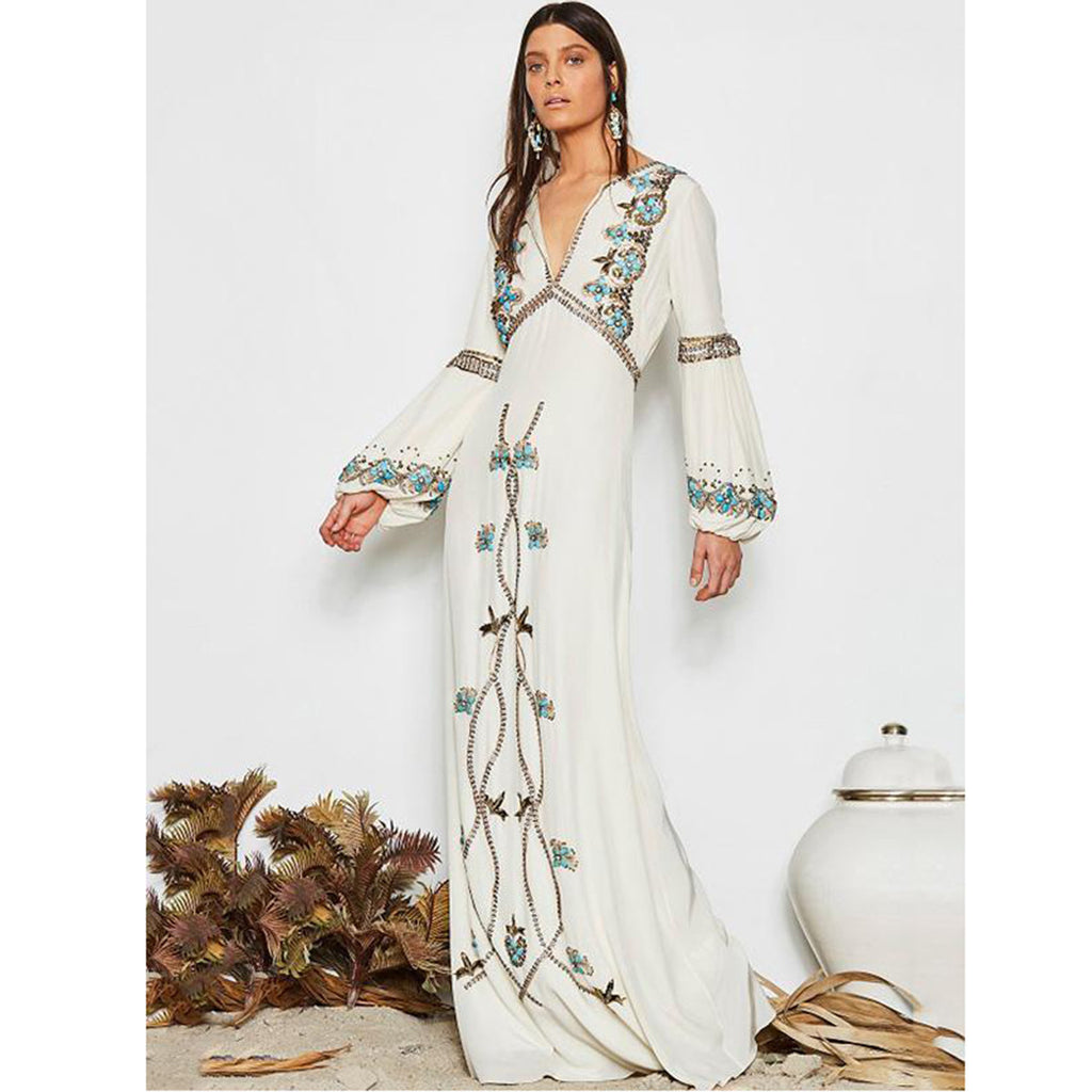 Embroidered Puff Sleeve Maxi Dress Stylish Dress - Metfine