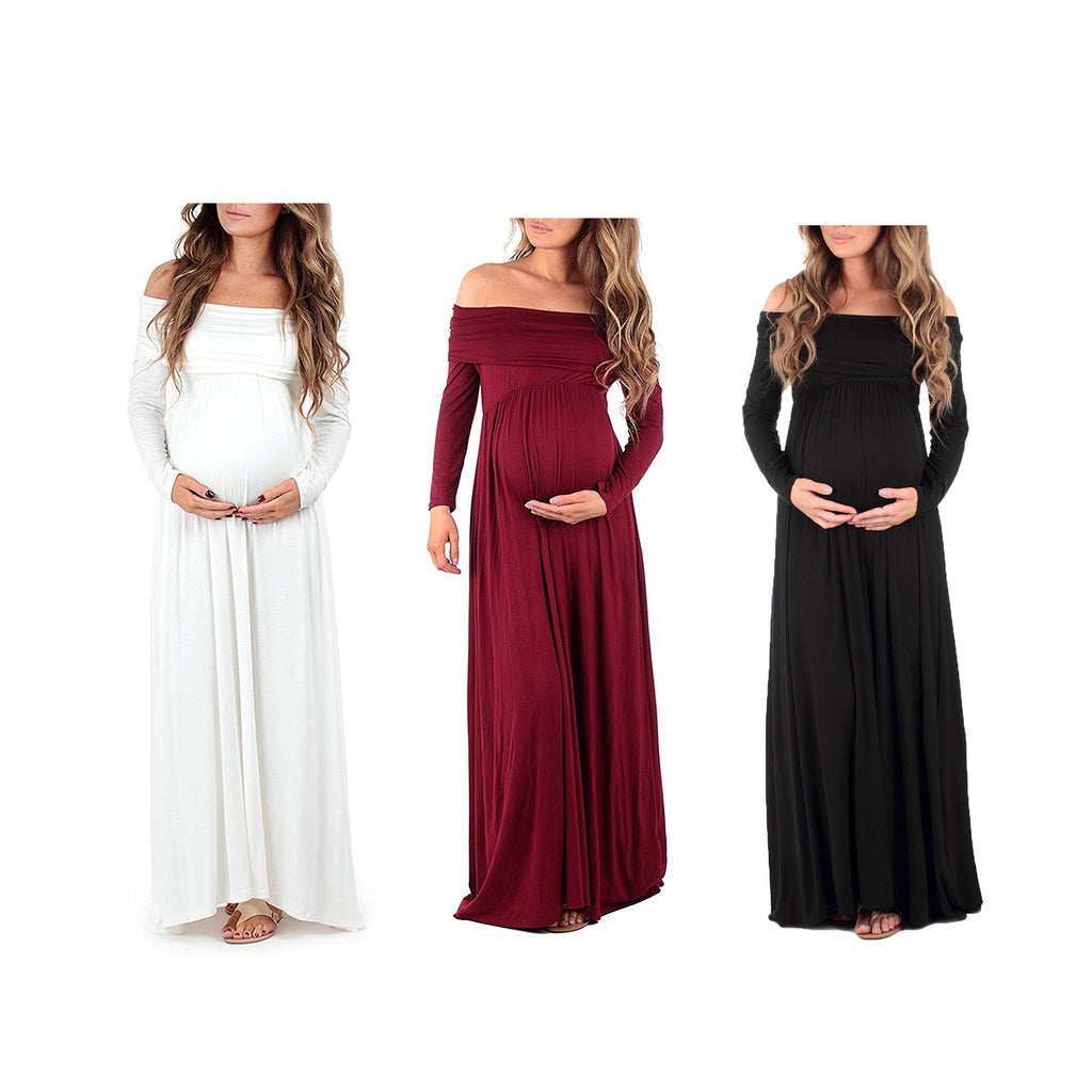 Pregnant Off-Shoulder Maternity Party Maxi Dress - Metfine