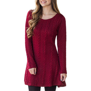 Long Sleeve Crewneck Jumper Knitted Mini Dress - Metfine