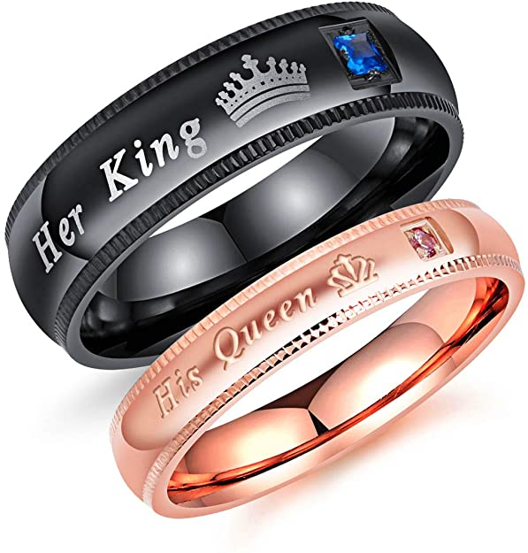 titanium his queen her king ring - Metfine