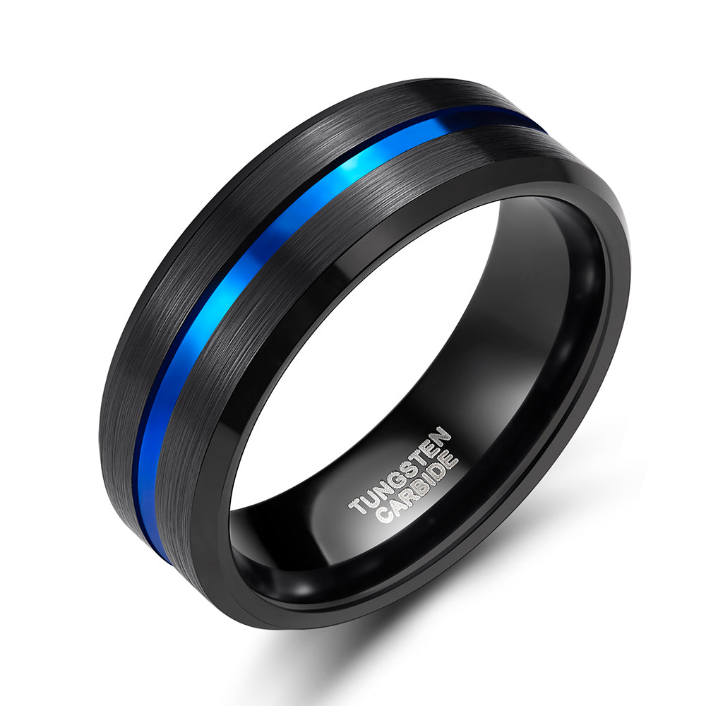 8mm blue line men tungsten carbide ring | male engagement wedding ring - Metfine