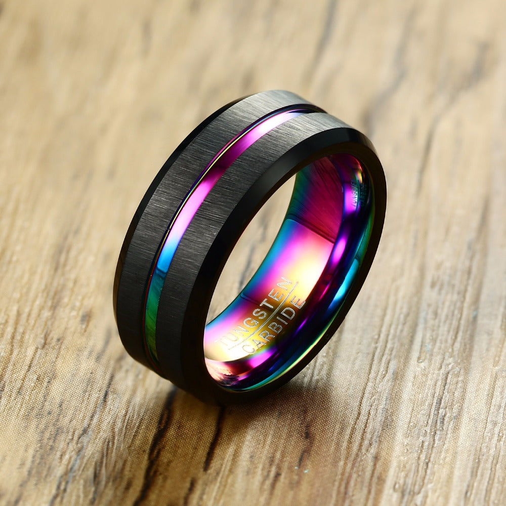 thin line tungsten ring wedding bands 8mm carbide for men engagement - Metfine