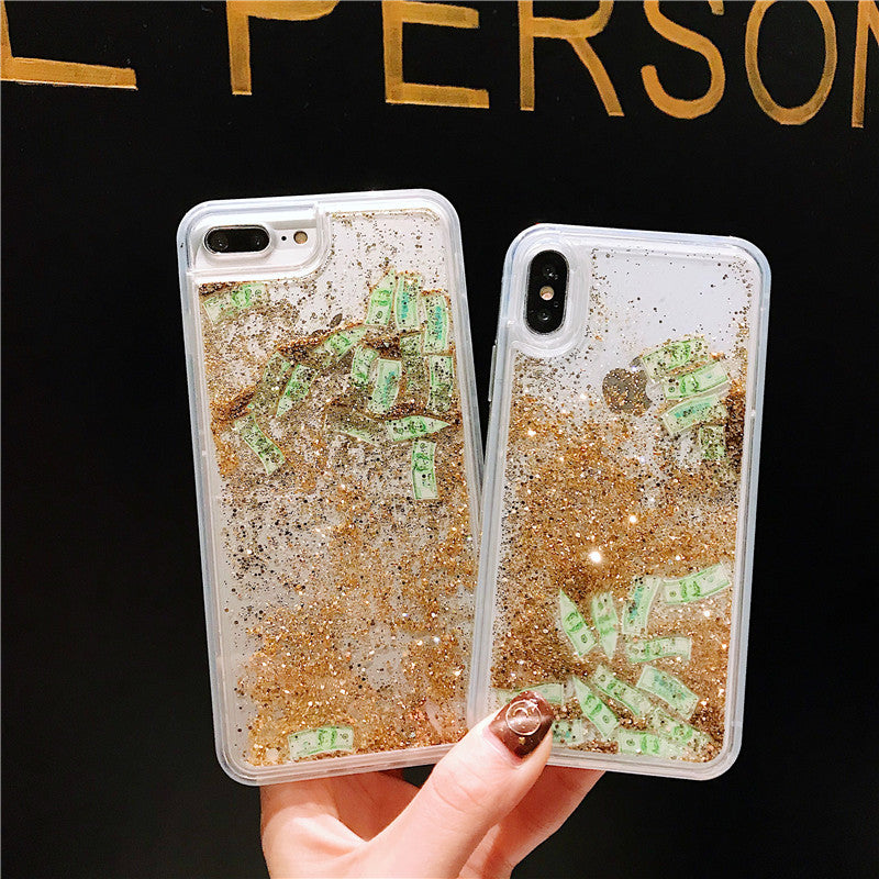 phone case for iphone 6 6s 7 8 Plus x 10 Girls Glitter Liquid Quicksand US dollar money - Metfine