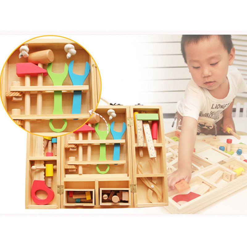 wooden toys tool box games assembly for children - Metfine