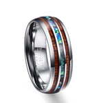 8mm Hawaiian Koa Wood and Abalone Shell Tungsten Carbide Ring - Metfine