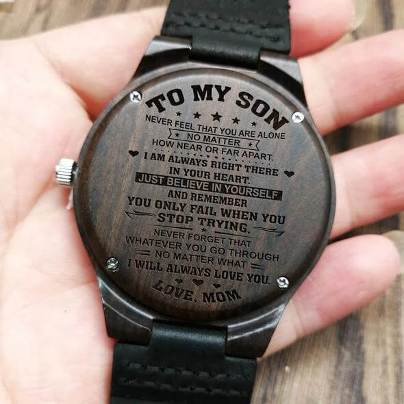 WOODEN WATCH - TO MY SON LOVE MOM - Metfine