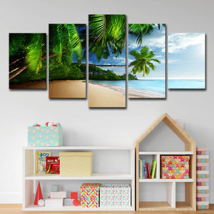 Palm Tree Canvas Painting Sun Beach Wall Art - Metfine