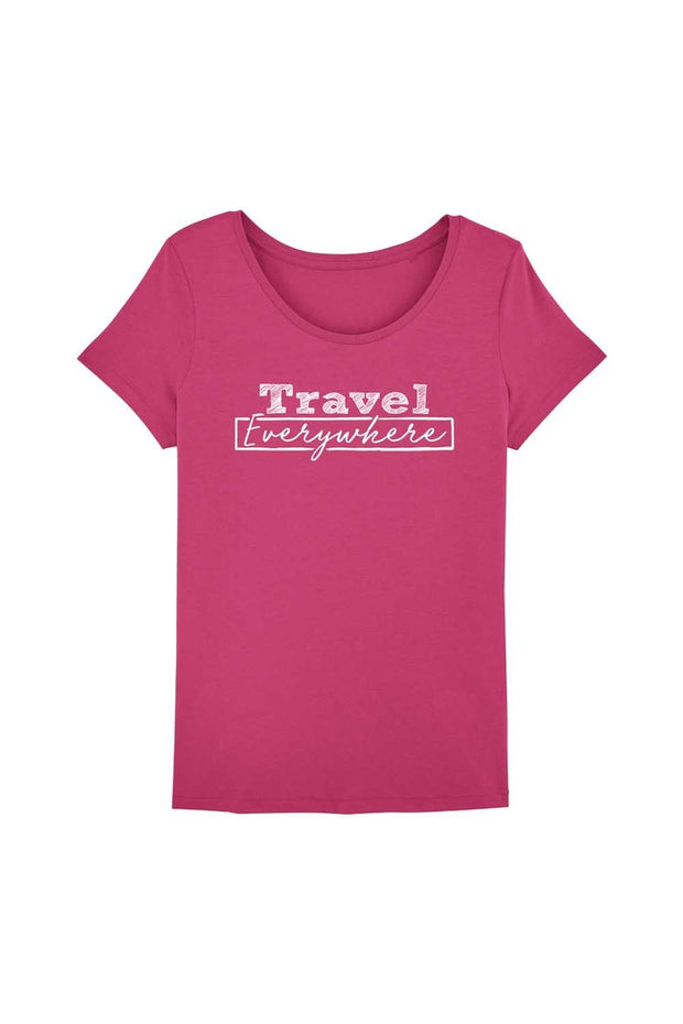 t_shirt_femme_coton_bio_travel_everywhere_rose