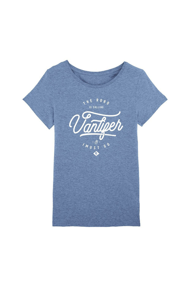 t_shirt_femme_coton_biologique_vanlifer_the_road_is_calling_bleu_chine