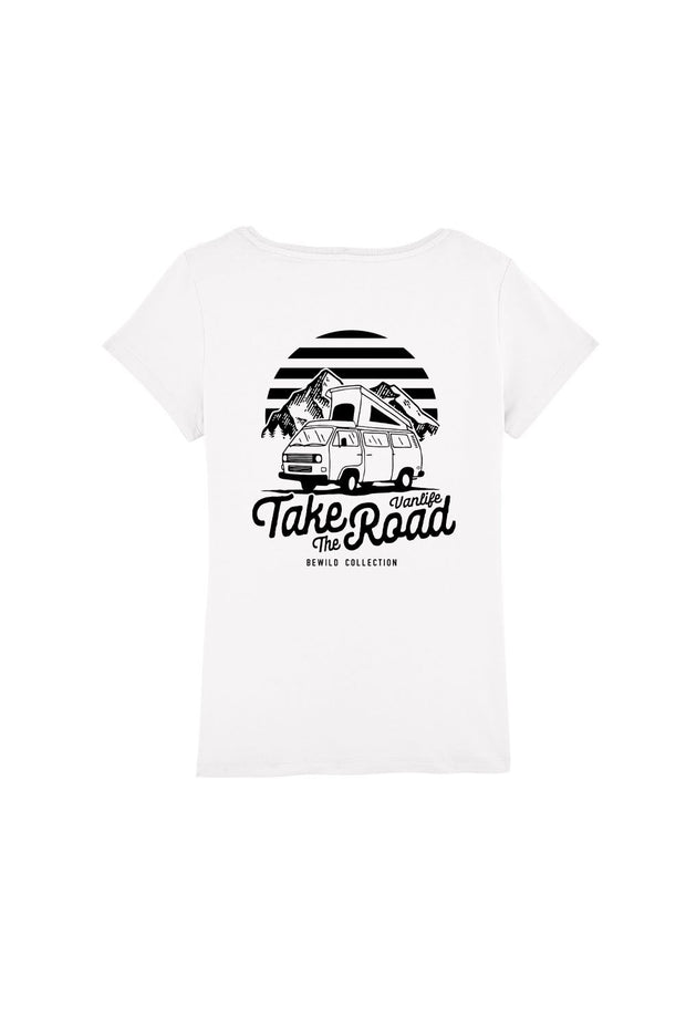 t_shirt_femme_coton_biologique_take_the_road_combi_volkswagen_t3_blanc
