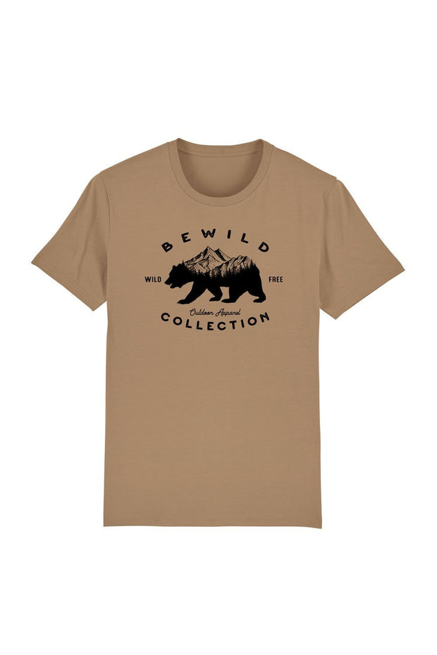 t_shirt_homme_coton_biologique_bear_mountains_bewild_collection_beige